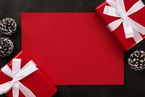 Blank red greeting card mockup
