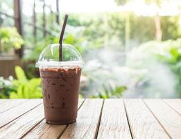 Iced chocolate coffee with nature background