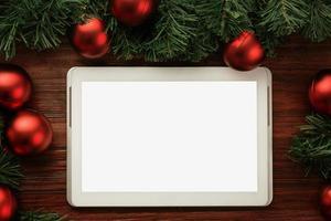 maqueta de tableta de feliz navidad