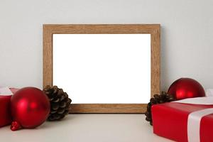 Blank wooden photo frame mockup