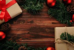 Christmas decoration on wooden table background