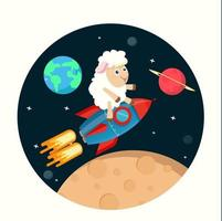 Cute sheep on top of a rocket ship in space vector