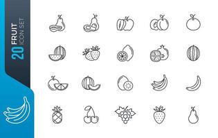 Minimal fruit icon set vector