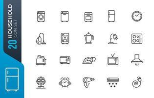 conjunto mínimo de iconos domésticos vector