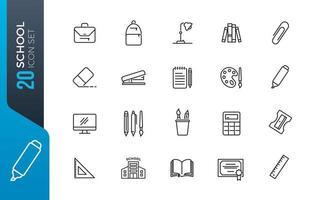 Minimal school icon set