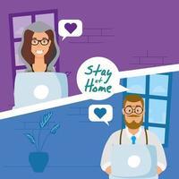 Quédate en casa campaña con personas en una videollamada