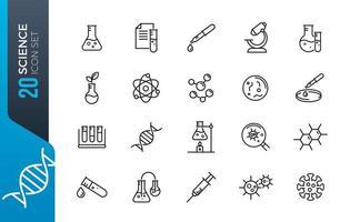 Minimal science icon set vector