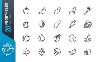 conjunto de iconos de verduras mínima vector