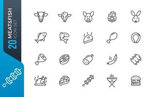 Meat fish icon set