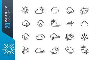 conjunto de iconos de clima mínimo vector
