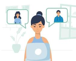Woman using laptop for a video call at home vector