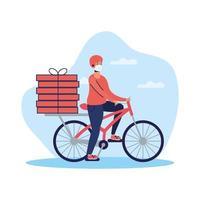 Servicio de entrega con mensajero en bicicleta. vector