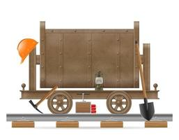 Mining trolley cart with equipment vector