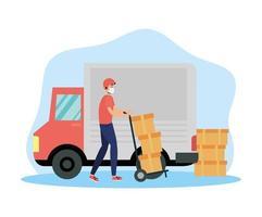 camión y trabajador para servicio de entrega vector