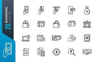 conjunto de iconos de banca mínima vector