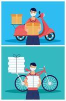 Servicio de entrega con mensajeros trabajando. vector