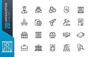 Law justice icon set vector
