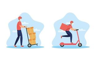 Delivery service workers with face masks vector