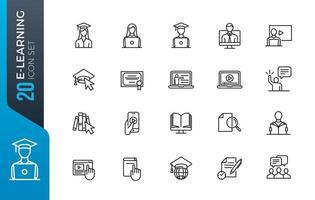 conjunto mínimo de iconos de e-learning vector