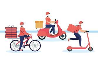 trabajadores de mensajería del servicio de entrega vector