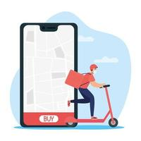 Online delivery service with courier on electric scooter