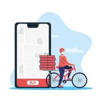 Online delivery service with courier on a bicycle