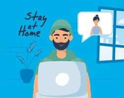 Man using laptop for a video call at home vector