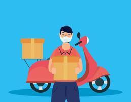 Trabajador de mensajería de servicio de entrega con motocicleta vector