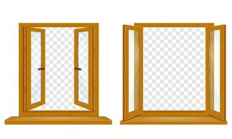 Open wooden window with transparent glass set vector