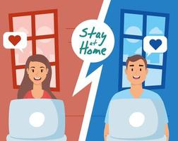 Stay home campaign with people on a video call vector