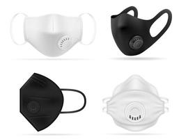Medical respiratory breathing mask set vector
