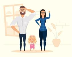 Stay home campaign with happy family at home vector