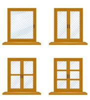 Closed wooden window with transparent glass set vector