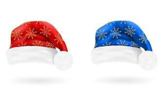 Decorative Santa Claus Christmas hat set vector