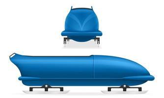 conjunto de deporte de invierno de bobsled azul vector