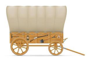 carro de madera del salvaje oeste vector