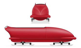 conjunto de deportes de invierno de bobsled rojo vector
