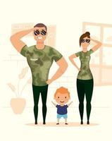 Campaña de estancia en casa con familia feliz en casa.