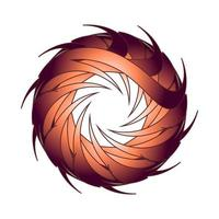Spirograph of sharp circular brown eyesight. vector
