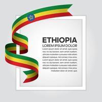 cinta de bandera de onda abstracta de etiopía vector