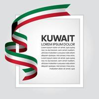 Kuwait abstract wave flag ribbon