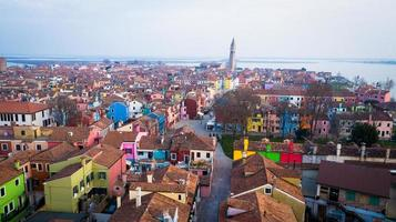 Aerial view of Burano, Italy