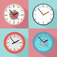 Set of colorful clocks with floral accents