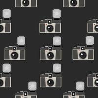 patrón sin fisuras de cámara vintage con flash vector