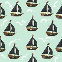 patrón sin fisuras de barcos piratas vector