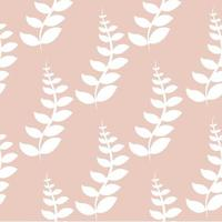 Seamless pattern of white leaves on pink background vector