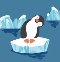 lindo pingüino en témpano de hielo vector