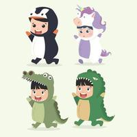 Collection of cute little kids in animal costumes vector