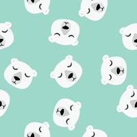 Seamless pattern of cute sleeping polar bears vector
