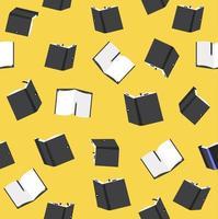 patrón sin fisuras de libros negros sobre fondo amarillo vector